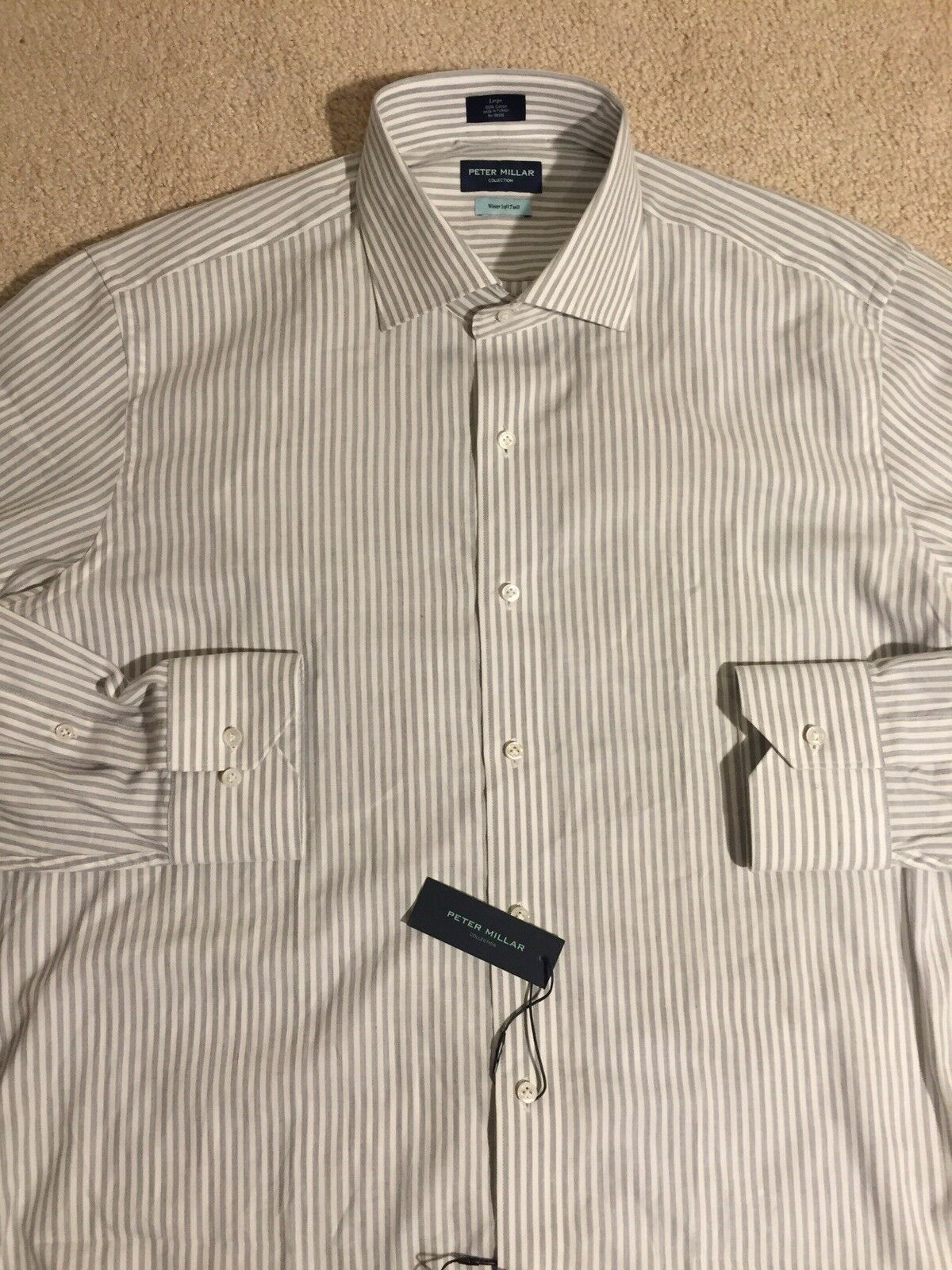 Peter Millar Collection Sport Shirt Soft Twill Striped NEW Men's Large  NWT