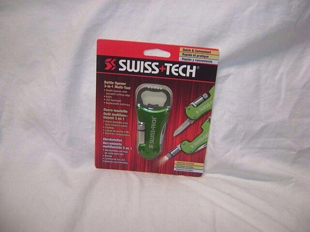SWISS TECH Bottle Opener 3 in 1 Multi Tool Keychain LED Flashlight