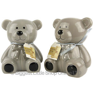 17cm-Ceramic-TEDDY-BEAR-Hands-Painted-Defects-Money-Box-Savings-Bank-Grey-CUTE