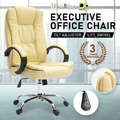 Details about  Executive Office Chair Dual-Layer Seat Tilt Computer Gaming Work - Beige