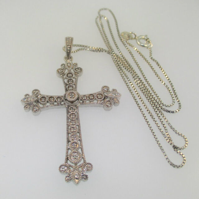 18-Inch Rhodium Plated Necklace with 4mm Crystal Birthstone Beads and Sterling Silver Saint Damien of Molokai Charm.