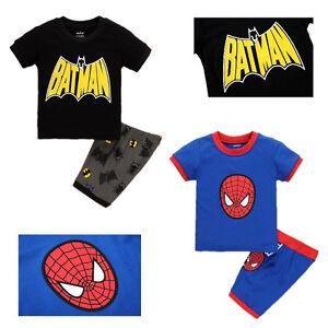0d0b9a312 Summer Toddler Kids Boys Spider-man Batman Tops T-shirt Pants ...