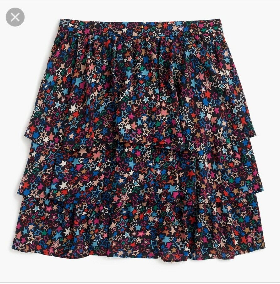 New J Crew Tiered Skirt in Kaleidoscope Star Print Indigo Multi Sz 2 H2600