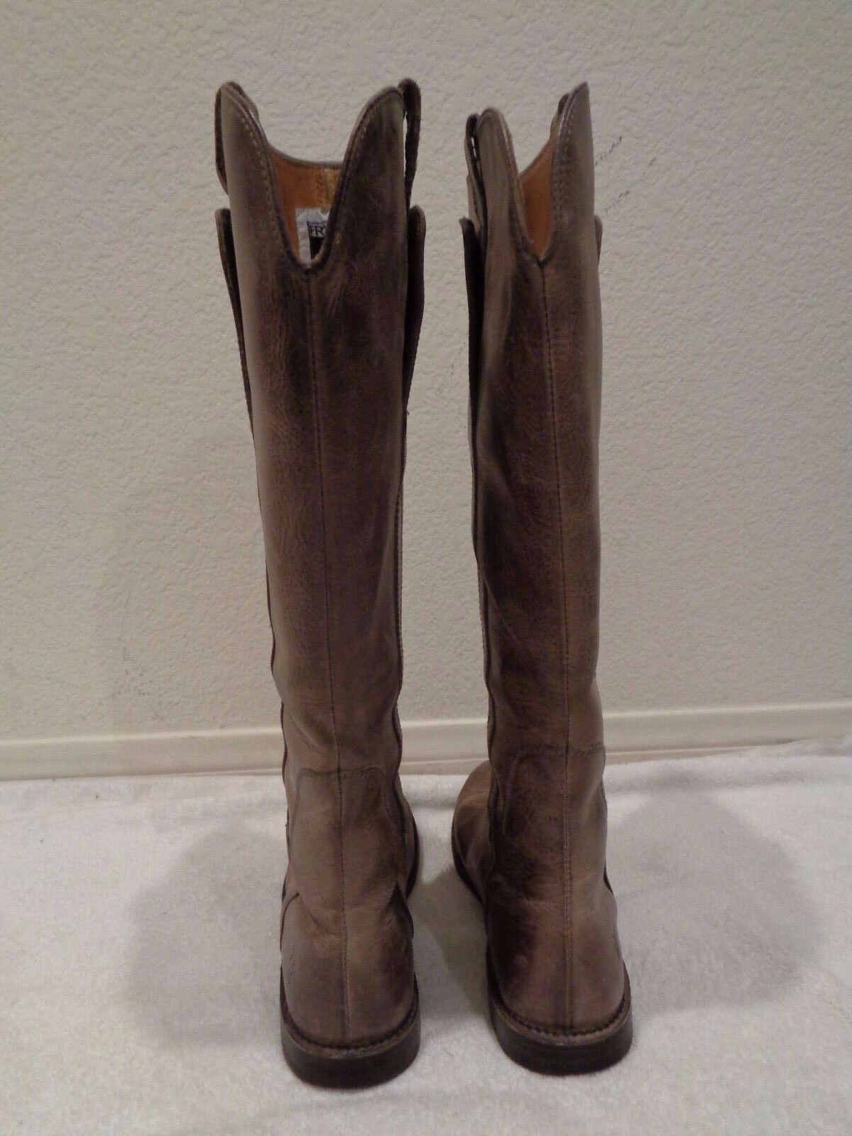 FRYE Paige taupe Braun gray Leder riding flat knee high tall Stiefel flat riding 6.5 f87f4b