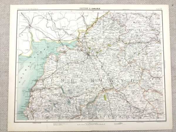100% Vero 1890 Antico Map Carlisle Cumberland Northumberland 19° Secolo Originale
