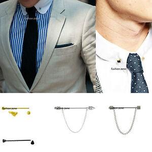 5-5-CM-Cravate-Broche-bar-col-boule-Barbell-homme-or-argent-noir-pour-costume-chemises-etc