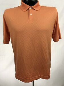 DOCKERS-GOLF-Mens-Polo-Shirt-Size-S-Orange-Casual-Polyester-Short-Sleeve