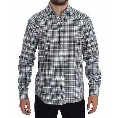 NWT $220 VERSACE JEANS COUTURE VJC Blue Checkered Slim Fit Cotton Shirt IT48 / M