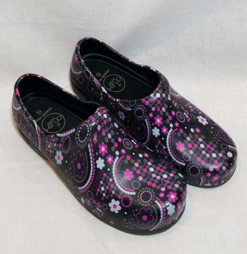 CRUSH SCRUBS Women/'s Memory Foam Nursing Clogs SIZE 6 Pink Black Flowers NWOT