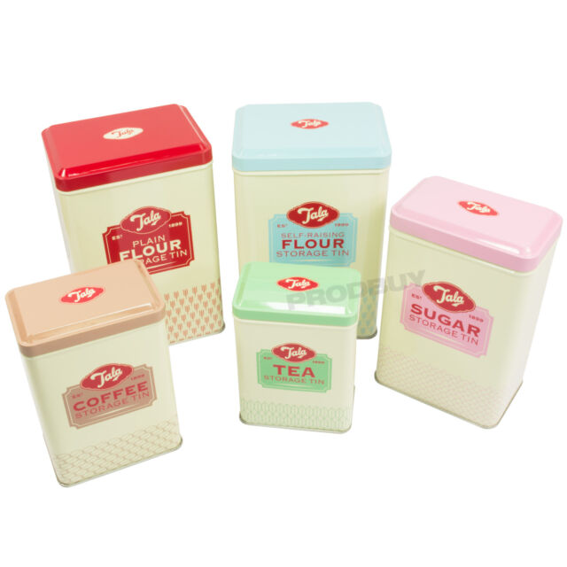 Tala 5 pc Vintage Style Kitchen Storage Canisters Flour Tins Tea Coffee Sugar