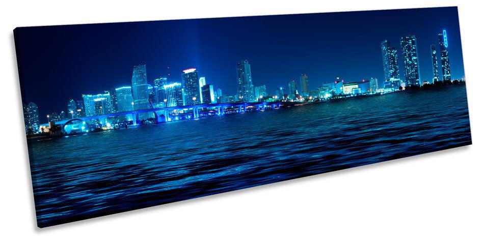 Miami Blu Skyline Città Panorama Immagine Tela Wall Art Print
