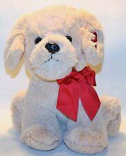 "11"" Dan Dee Red Heart Retriever PUPPY DOG hearts on Ear Bow Plush Stuffed Toy"