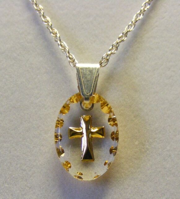 Hand painted mini oval Cross Crystal Pendant