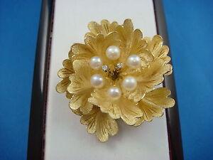 !AMAZING 18K GOLD PEARLS & DIAMONDS FLOWER DESIGN BROOCH 11.8 GRAMS HIGH QUALITY