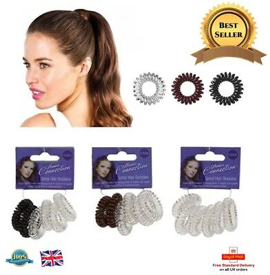 6 X Spiral Hair Bands Plastic Hair Bobbles Girls Baby Ponytail Stretchy Bands