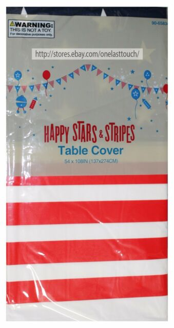"""MOMENTUM 54/""""x108/"""" TABLE COVER Patriotic Decor 4TH OF JULY Happy Stars+Stripes 1a"""