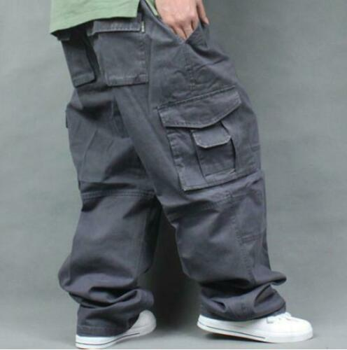 Mens Baggy Loose Casual Overalls Cargo work Cotton Pants Hot plus size #