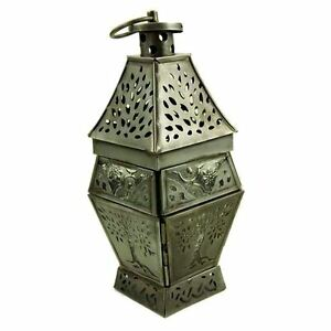Tree-Of-Life-Celtic-Antique-Silver-Glass-amp-Metal-Candle-Holder-Lantern-22cm