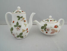 WEDGWOOD MINIATURE TEA & COFFEE POTS -  WILD STRAWBERRY PATTERN 1st QUALITY