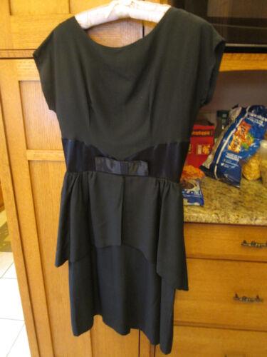 1960s Black Dress Overskirt Peplum Size 6 or 8 or