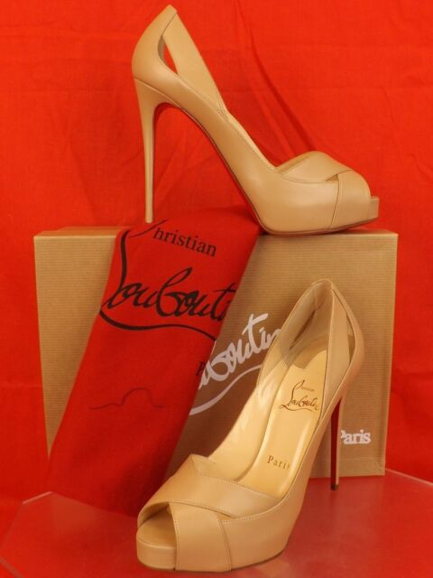 b3047faf87e1 NIB LOUBOUTIN ACADEMA 120 CRISS CROSS NUDE LEATHER PEEP TOE PLATFORM PUMPS  40
