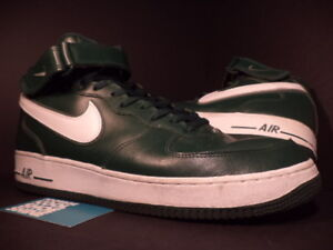 Details about 2004 Nike Air Force 1 Mid BLACK FOREST PINE GREEN WHITE NORI  GREY 306352-311 14