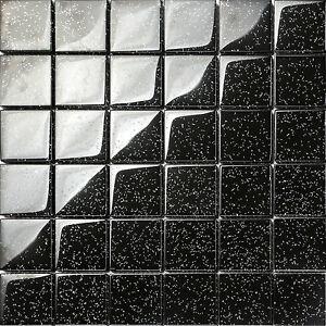Mosaik Fliesen Matte 8mm Aus Glas Schwarz Mit Mehrfarbigem