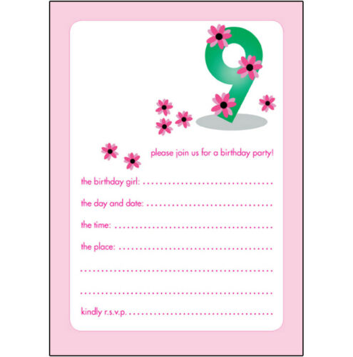 CUTE! 10 Childrens Birthday Party Invitations 9 Years Old Girl BPIF-22 Pink