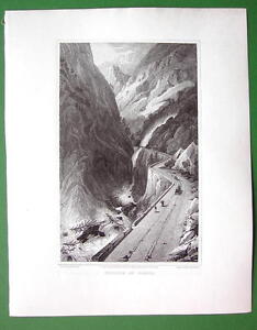 ITALY-Alps-Scene-near-Village-of-Gondo-1820-Antique-Print-by-Miss-BATTY