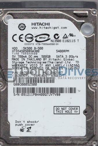 PN 0A70345 Hitachi 500GB SATA 2.5 Hard Drive MLC DA2987 HTS545050B9A300