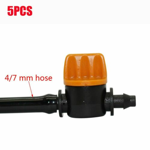 5x Mini 4//7Mm Hose Valve Connector Garden Irrigation Barbed Water Flow Control