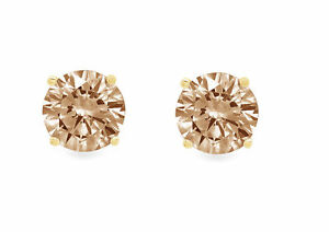 1ct-Diamante-Redondo-champana-simulante-Stud-Pendientes-14k-Oro-Amarillo-empuje-hacia-atras