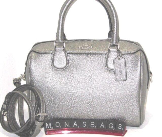 68d858431132e Coach F39706 Mini Bennett Satchel Crossbody Bag Metallic Gunmetal Leather  $295