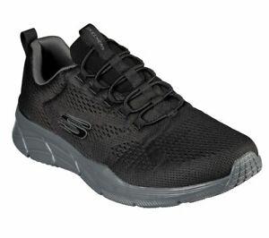 Black-Skechers-Shoes-Men-039-s-Memory-Foam-Walk-Train-Comfort-Workout-Slip-On-232026