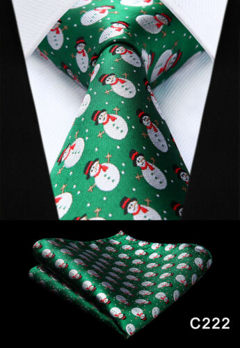 "Christmas Necktie 3.4/""Silk Wedding Party Woven Classic Men Tie Pocket Square Set"