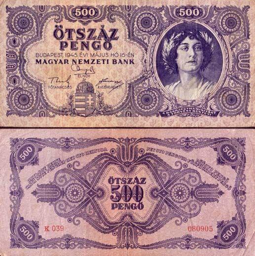 Hungría - Hungría d boleto'usado 500 pongo pick 117 VF