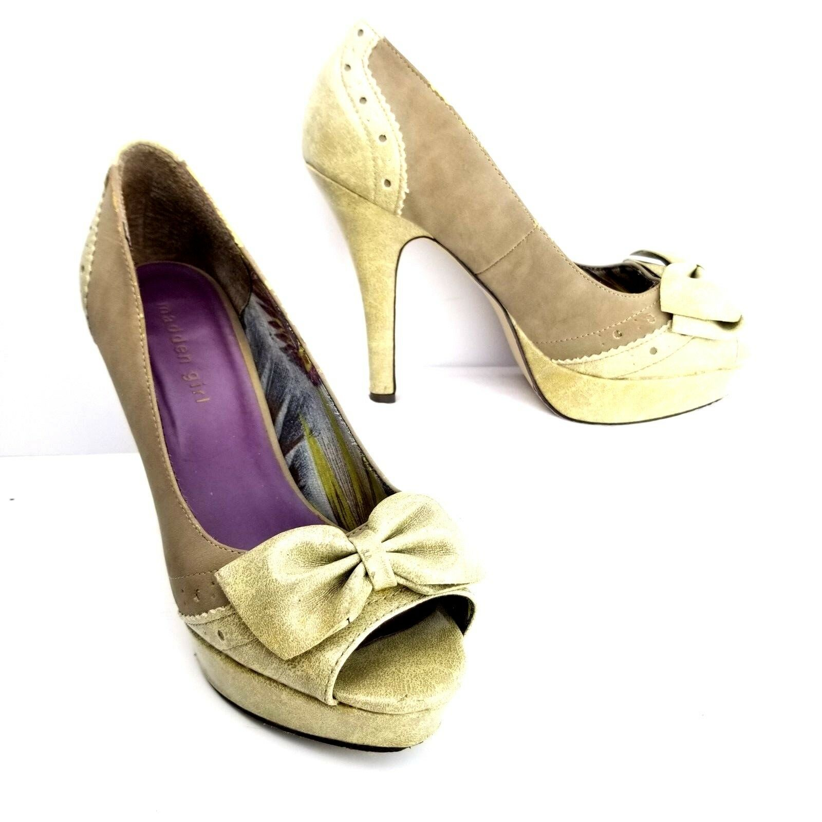 Madden Girl Platform Heels Peep Size 8.5 Gray Bow Peep Heels Toe Shoe Heels Womens Speckled 70dd7e