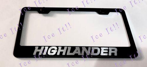 HIGHLANDER Stainless Steel Black License Plate Frame Rust Free Caps