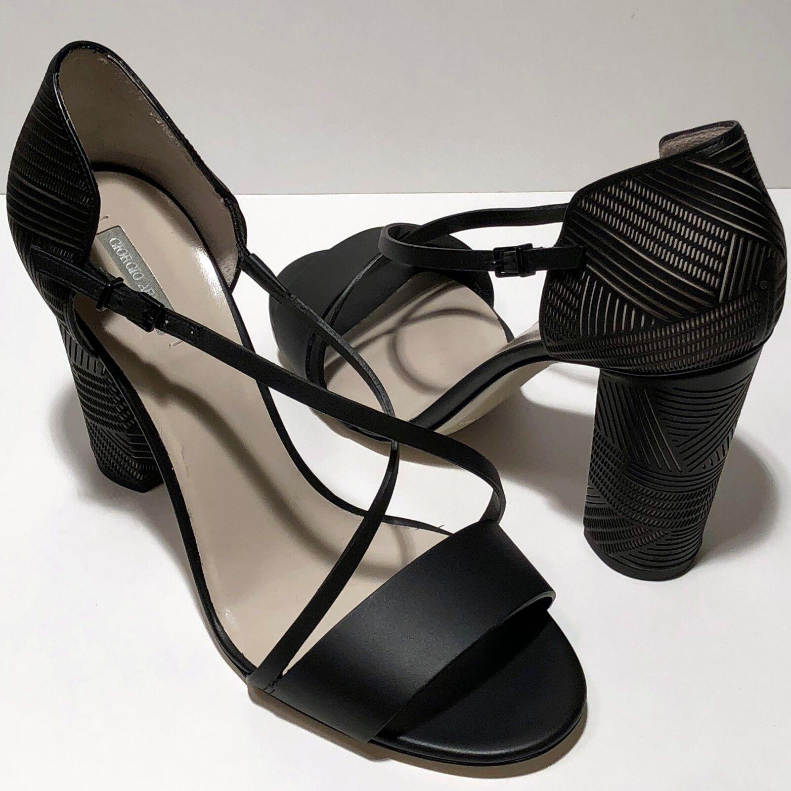promozioni di squadra  1025 1025 1025 Giorgio Armani Donna  6 nero Leather Fashion d'Orsay Heels Strap Pumps  shopping online e negozio di moda