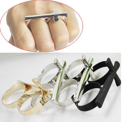 Retro Vintage Exquisite Punk Cross Ring Double Finger Dual Adjustable Rings