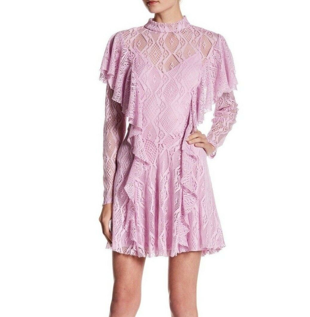 Women's Free People size MEDIUM M Pink Long Sleeve Crochet Lace Mini Dress NEW