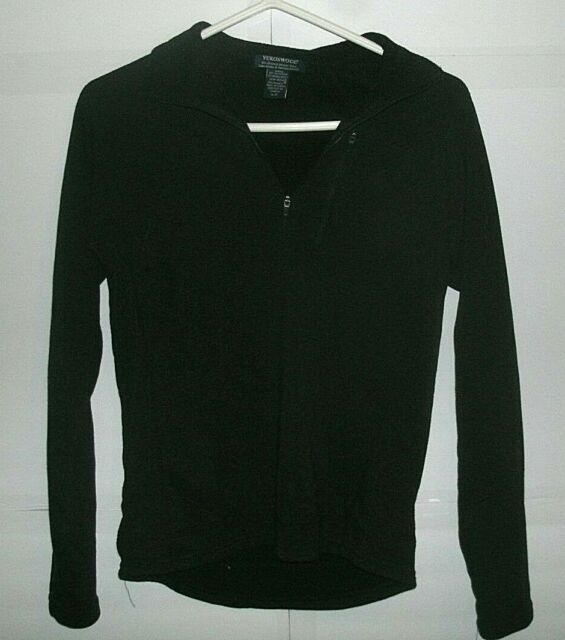 YukonWool 1/4 zip Pullover Sweater Size Small Merino Wool Black Women's