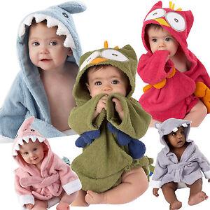 879a25c358 Lovely Baby Boys Girls Cartoon Hooded Bathrobe Child Toddler Bathing ...