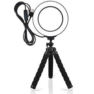 """Aro de luz anillo LED selfie profesional 6"""" trípode regulable TikTok YouTube"""
