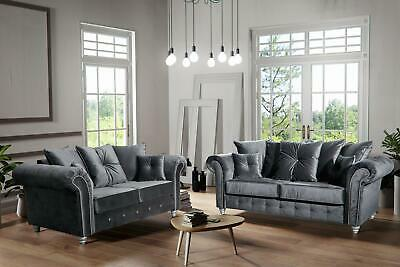 Olympia Plush Velvet Grey 3+2+1 Sofa Set Suite Couch Lush Design Cushions Sale