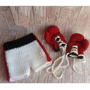 Newborn Baby Crochet Knit Boxing Gloves Shorts Costume Photography Prop Outfi...