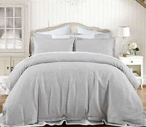 Image is loading Grand-Atelier-Grey-Hotel-100-Cotton-Waffle-Quilt-