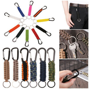 1PC Accessories Survival Kit EDC Military Tool Paracord Cord Keychain Emergency Rope Carabiner Outdoor Camping Keyring Key Chain Rings
