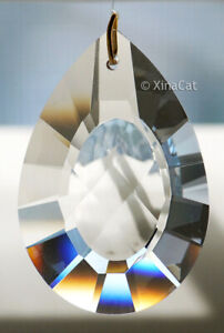 50mm-Cats-Eye-Pear-Crystal-Clear-Prism-SunCatcher-2-inches-Pendant
