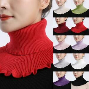 Ladies-Knitted-Fake-High-Collar-Winter-Windproof-Detachable-Ruffles-Scarf